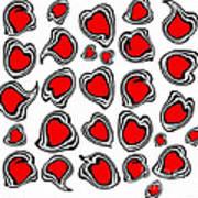 Hearts Black White Red No.386. Art Print by Drinka Mercep