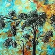 Abstract Art Landscape Metallic Gold Textured Painting Spring Blooms II By Madart Art Print