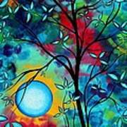 Abstract Art Landscape Tree Blossoms Sea Painting Under The Light Of The Moon I  By Madart Art Print