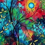 Abstract Art Landscape Tree Blossoms Sea Painting Under The Light Of The Moon II By Madart Art Print
