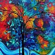 Abstract Art Landscape Tree Bold Colorful Painting A Secret Place By Madart Art Print