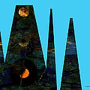 abstract - art- Mystical Moons  Art Print by Ann Powell