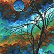 Abstract Art Original Colorful Painting Mystery Of The Moon By Madart Art Print