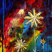 Abstract Art Original Daisy Flower Painting Visual Feast By Madart Art Print by Megan Duncanson