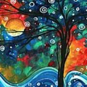 Abstract Art Original Landscape Colorful Painting First Snow Fall By Madart Art Print by Megan Duncanson