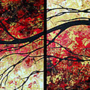 Abstract Art Original Landscape Painting Bring Me Home By Madart Print by Megan Duncanson