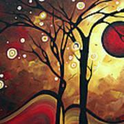 Abstract Art Original Landscape Painting Catch The Rising Sun By Madart Art Print