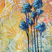 Abstract Art Original Landscape Painting Contemporary Design Blue Trees II By Madart Art Print
