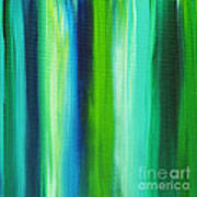 Abstract Art Original Textured Soothing Painting Sea Of Whimsy Stripes I By Madart Art Print by Megan Duncanson