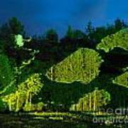 Abstract Art Projection Over Night Nature Scenery Art Print