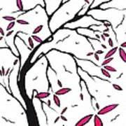 Abstract Artwork Modern Original Landscape Pink Blossom Tree Art Pink Foliage By Madart Print by Megan Duncanson