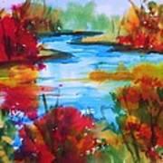 Abstract - Autumn Blaze On Catskill Creek Art Print