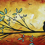 Abstract Bird Landscape Tree Blossoms Original Painting Family Of Three Art Print