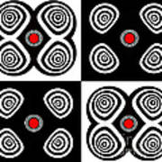 Abstract Black White Red Op Art Minimalism No.217  Art Print by Drinka Mercep