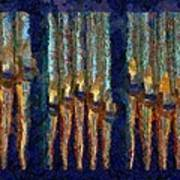Abstract Blue And Gold Organ Pipes Art Print