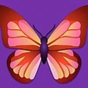 Butterfly Graphic Orange Pink Purple Art Print