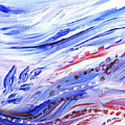 Abstract Floral Marble Waves Art Print