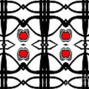 Abstract Geometric Black White Red Pattern Art No.173. Art Print
