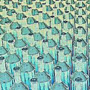 Abstract Green Glass Bottles Art Print