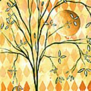 Abstract Harlequin Diamond Pattern Painting Original Landscape Art Moon Tree By Megan Duncanson Print by Megan Duncanson