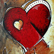 Abstract Heart Original Painting Valentines Day Heart Beat By Madart Art Print