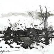 Modern Abstract Black Ink Art Art Print