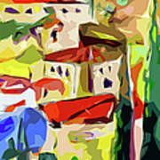 Abstract Italy Lago Di Como Art Print by Ginette Callaway