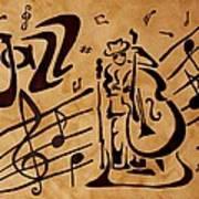 Abstract Jazz Music Coffee Painting Art Print