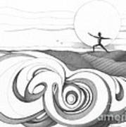 Abstract Landscape Art Black And White Yoga Zen Pose Between The Lines By Romi Art Print