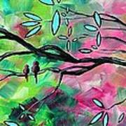 Abstract Landscape Bird And Blossoms Original Painting Birds Delight By Madart Print by Megan Duncanson