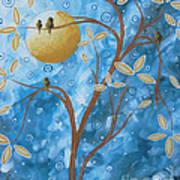 Abstract Landscape Bird Painting Original Art Blue Steel 1 By Megan Duncanson Art Print