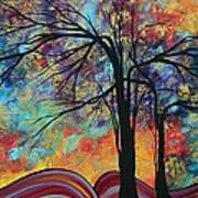 Abstract Landscape Tree Art Colorful Gold Textured Original Painting Colorful Inspiration By Madart Art Print