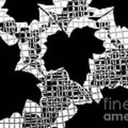 Abstract Leaf Pattern - Black White Grey Art Print