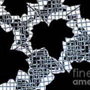 Abstract Leaf Pattern - Black White Light Blue Art Print