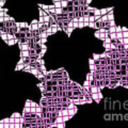 Abstract Leaf Pattern - Black White Pink Art Print