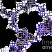 Abstract Leaf Pattern - Black White Purple Art Print