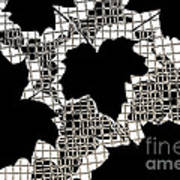 Abstract Leaf Pattern - Black White Sepia Print by Natalie Kinnear