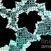 Abstract Leaf Pattern - Black White Turquoise Art Print by Natalie Kinnear