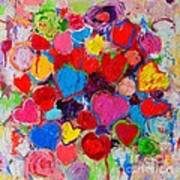 Abstract Love Bouquet Of Colorful Hearts And Flowers Art Print