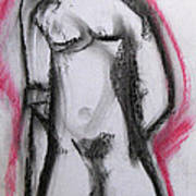Abstract Nude With Red Art Print