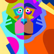 Abstract Original Monkey Drawing In Art Print