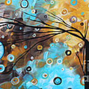 Abstract Painting Chocolate Brown Whimsical Landscape Art Baby Blues By Madart Art Print
