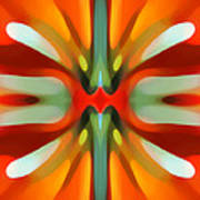 Abstract Red Tree Symmetry Art Print by Amy Vangsgard