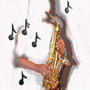 Abstract Saxophone Player Art Print