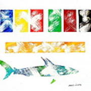 Abstract Shark Art Print