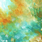 Abstract Textured Decorative Art Original Painting Gold And Teal By Madart Art Print