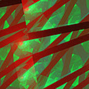 Abstract Tiled Green And Red Fractal Flame Art Print
