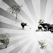Abstract Vintage Cows Art Print