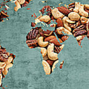 Abstract World Map - Mixed Nuts - Snack - Nut Hut Art Print