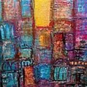 Abstrtact City Sunset Art Print